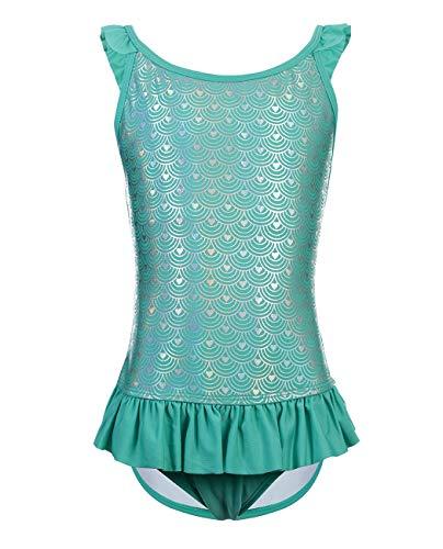 iDrawl Grün Badeanzug One Piece Bademode Mädchen Sommer Beachwear UPF 50+,Größe S