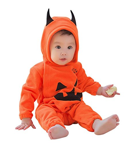 Baby Kostüm Halloween Kürbis Overall Mit Kapuze,ZEZKT Parteikleidung Infant Kostüm Mädchen Karneval Party Kleid Halloween Fest Kürbis ----3-18 Monate (6 Monate (80 Kostüme Bilder Für)