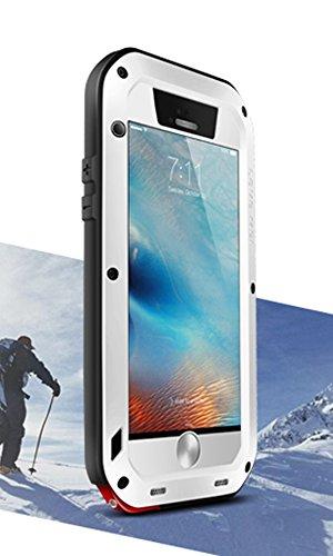 Wasserdichte Schutzhülle für Apple iPhone 6S + (iPhone 6S Plus), Marke Love Mei [gerade Stil] Aluminium Material mit Gorilla Glas Display Cover * 2Jahre Garantie * weiß