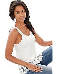 Tongshi Camisa sin mangas del chaleco del cordón de las mujeres del verano ocasional del tanque tapas de la blusa de la camiseta