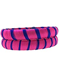 SURATNA Stylish & Beautious Silk Thread Bangles 2 Pc Set Pink & Blue Color For Women & Girls For Wedding & Festive...