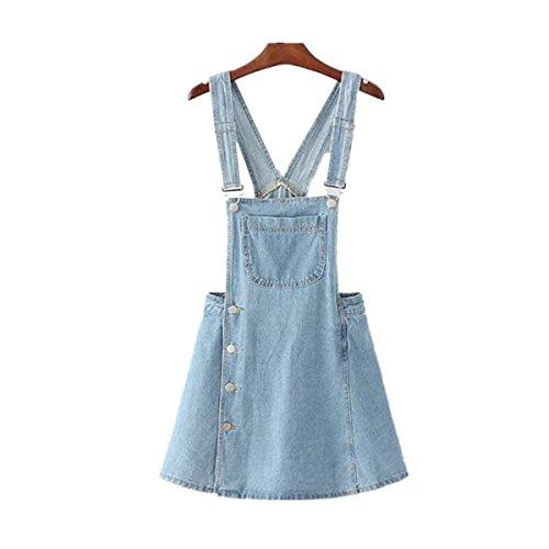 Packitcute tuta da donna classica con gonna regolabile con cinturino regolabile in denim (s, light blue)