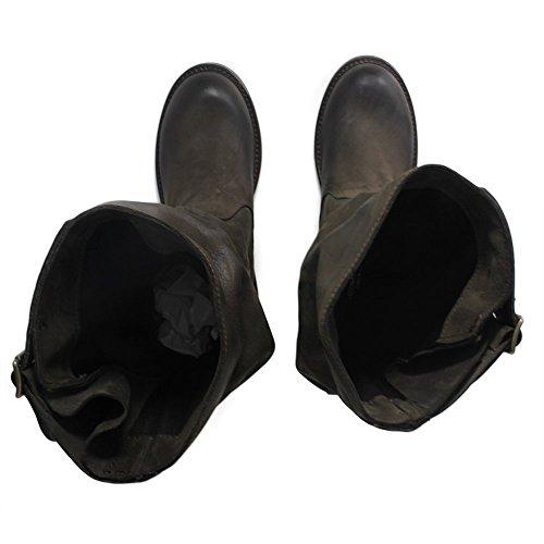 Personal Shoepper Boots Botas De Motorista 0301 Mujer Mid Becerro De Cuero Genuino Nabuk Brown Curled Made In Italy Marrón Oscuro