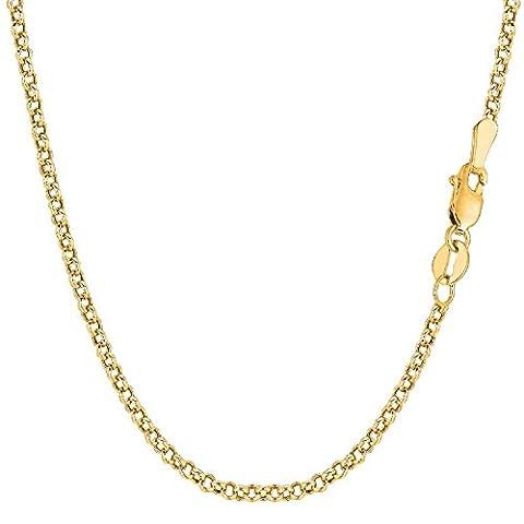 14 Carat / 585 Yellow Gold Rolo Link Belcher Necklace Unisex– Width 2.70 mm – Various Lengths