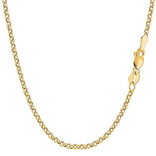 14 Karat 585 Gold Rund Erbskette Rolo Link kette Gelbgold Unisex – Breite 2.70 mm – Länge Wählbar