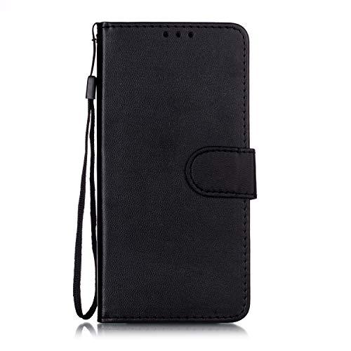 Lomogo Nokia 4.2 Hülle Leder, Schutzhülle Brieftasche mit Kartenfach Klappbar Magnetverschluss Stoßfest Kratzfest Handyhülle Case für Nokia4.2 - LOYHU250783 Schwarz