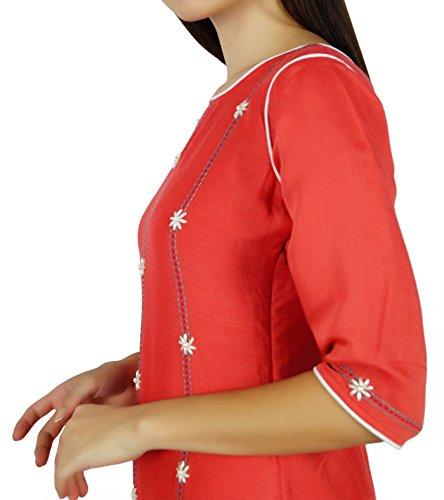 Bimba Frauen Pfirsich kurta kurti 3/4 Ärmel indische Hand-Perlen Tunika Bluse individuelle Kleidung Pfirsich