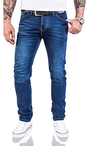 Rock Creek Designer Herren Jeans Hose Stretch Jeanshose Basic Slim Fit [RC-2115 - Blue Denim - W32 L32] - 5-pocket Rock