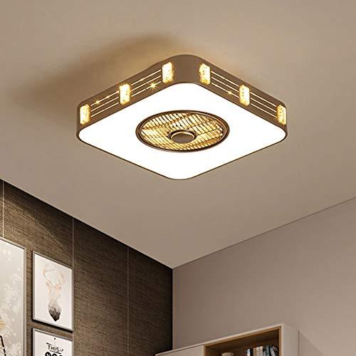 Nuanxin Quadratische LED-Deckenleuchte 52W Super Bright Remote Tricolor Light Negative Ionen Schlafzimmer Fan Light LED Energiesparende Lichtquelle Größe: 60 * 23cm T10 -