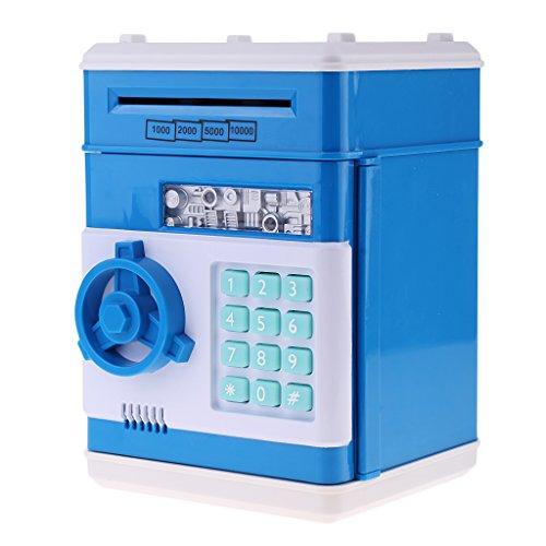 Baoblaze Schöne Automatische Elektronische Password Tresor Spardose Sparschwein Münze Papiergeld Sparen Box für Kinder - Blau, C (Zähler Maschine Geld)