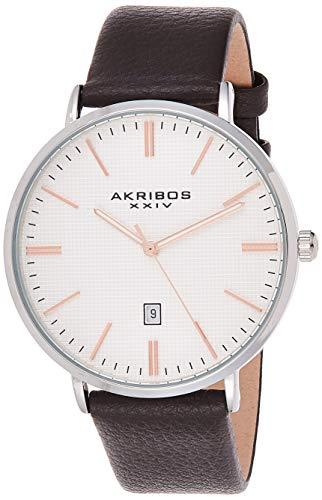 Akribos XXIV Herren Datum klassisch Quarz Uhr mit Leder Armband AK935SSRG