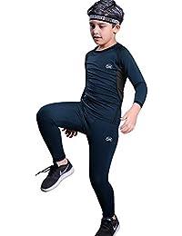 MeetHoo Conjunto Ropa Interior Termica para Niños Camisetas Termicas Deportivas Manga Larga Decathlon Pantalon Termico Futbol Niño de Esquí Forro de Lana para Correr, Escalar y Senderismo