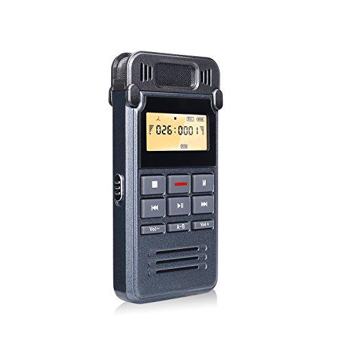 Grabadora de Voz Digital Portátil, COOAU 8GB Mini Dictáfono Digital Recargable con Micrófono Grabación Clara One Touch Grabación, Función MP3,USB, Grabadoras de voz para Clase, Conferencias, Reunión o Entrevista