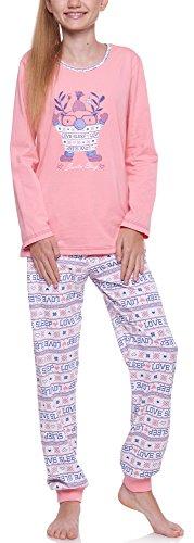 Merry Style Mädchen und Jugendlicher Schlafanzug 1154 (Aprikose-2A, 158)