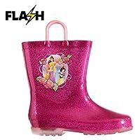 Disney Princess Light Up Wellington Boots Infants Girls Pink Wellies Gum Boot