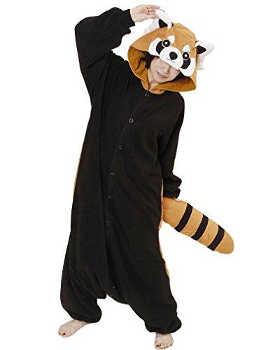 (SAMGU Tier Onesie Pyjama Cosplay Kostüme Schlafanzug Erwachsene Unisex Animal Tieroutfit tierkostüme Jumpsuit Waschbär(Größe L))