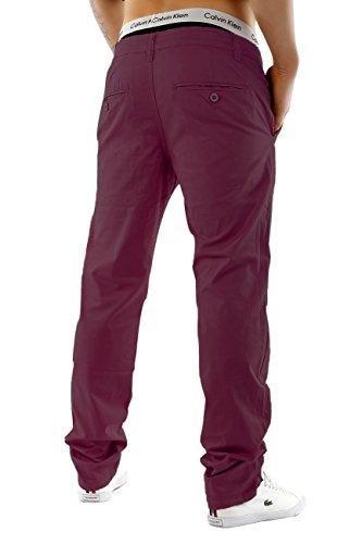 Herren Chino Hose Regular Fit Passform · Schicke Sommerhose · Chino Stretch Jeans · Baumwoll-Elasthan-Mix · Straight Leg · Große Farbauswahl H1245 Weinrot