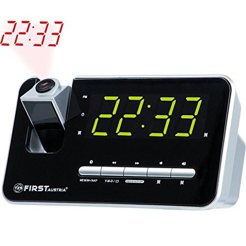 Radiosveglia con proiettore, display a LED proiettore 3 fasi dimmerabile o commutata via, 10 locazioni di memoria/ Giorno Scelta funzione / PAN / funzione snooze / sonno / 2 sveglia integrato flessibile e radio / tuner PLL / stabilizzatore di quarzo