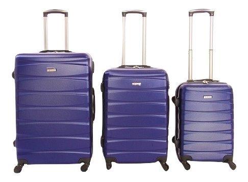 Dublin 2 set da 3 pezzi valige trolly in ABS e policarbonato con 4 ruote girevoli 360° gradi colori vari (blu)