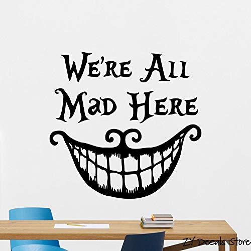 jiushivr We Are all Mad Here Adesivo Citazioni in Vinile Divertente Sorriso Faccia Decorazioni a Bocca Grande 42x45cm