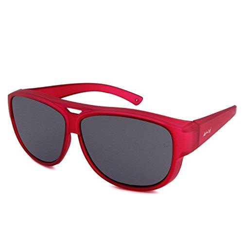 ActiveSol Design ÜBERZIEH-SONNENBRILLE | Aviator – Flieger Brille | Sonnen-Überbrille UV400 Schutz | polarisiert | 24 Gramm (Rot)