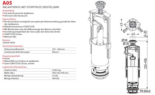 Spülgarnitur Keramik Spülkasten Ablaufventil mit Stopfunktion verstellbar Spülung Heberglocke für WC