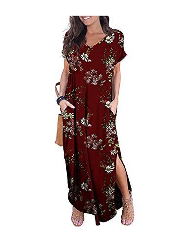 Kidsform Maxi Kleid Damen Großen Größen Sommerkleider Elegant Strandkleider Kurzarm V-Ausschnitt Split Lang Kleid XXL - Großes Kleid