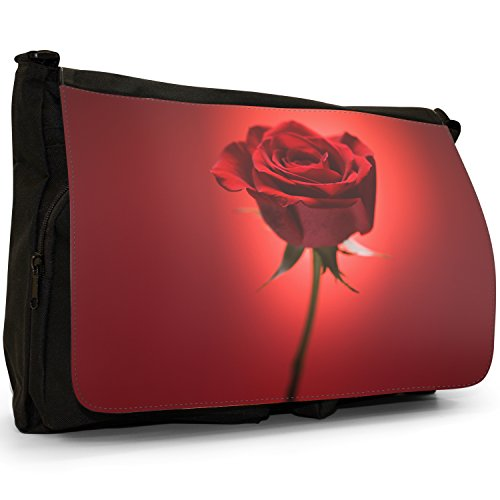 Fancy A Bag Borsa Messenger nero Gorgeous Deep Red Rose With Green Stem