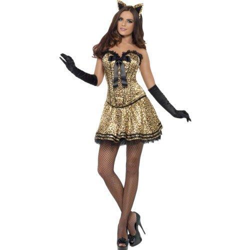 Damen Sexy Korsett Tutu Bengalkatze Animal Halloween Junggesellinnenabschied Kostüm Kleid Outfit UK 8-18 - Braun, Braun, (Uk Junggesellinnenabschied Kostüme)