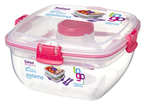 Sistema To Go Salad with Dressing Pot and Cutlery, 1 L - Clear/Pink