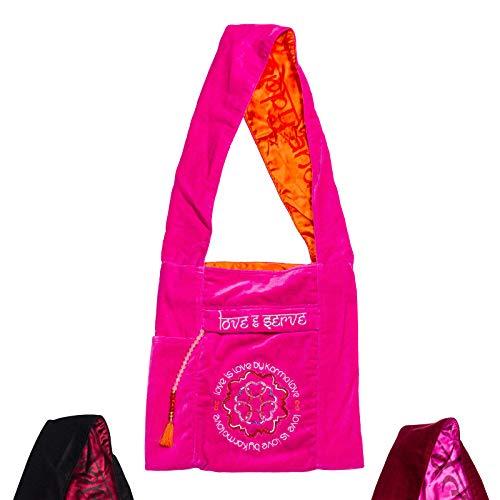 Karma Love Damen Yoga Lifestyle Tasche handgefertigt Fairtrade Designer Yoga-Freizeittasche 36x80 cm groß Baumwolle-Tasche I am You Original (Pink) -