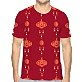 Shiyiqi9 Mens Graphic Funny T Shirt Halloween Pattern Holiday Template Haunted Castle Trees Bats Full Moon Refreshing
