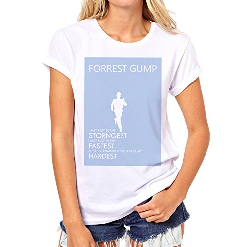 Strongest Fastest Hardest Forrest Gump Blue Poster Print Art Movie Running  Background Damen T-Shirt