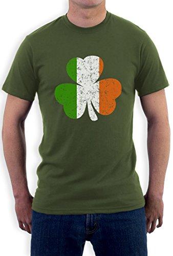 Irland Farben Kleeblatt Clover St. Patricks Day T-Shirt Large Olivgrün (Trinken Team Von Green Das T-shirt)