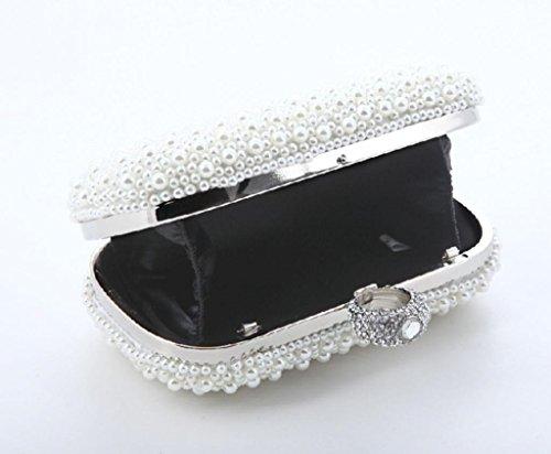 Heyjewels Elegant Handgemacht Zweiseitig Perlen Beaded Clutch Brauttasche Unterarmtasche Party Abendtasche Serie 4:Weiss