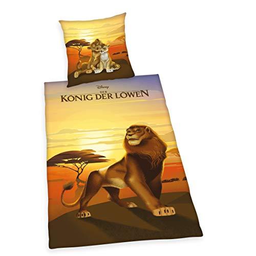 Herding DISNEY König der Löwen Bettwäsche-Set, Wendemotiv, Bettbezug 135 x 200cm, Kopfkissenbezug 80 x 80cm, Baumwolle/Renforcé -
