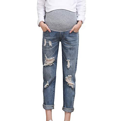 Damen Umstandsmode Umstandsjeans Elastische Bund Umstand Jeans Schwanger Jeanshose Fitnesshose High Waist Umstandshose Maternity Komfortable Skinny Slim Fit Destroyed Hose