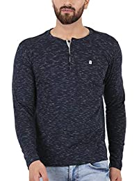 67f53d232b0d TURMS Stain Repellent & Anti Odour Rich Navy Blue Fancy Full Sleeve Henley  Cotton T-