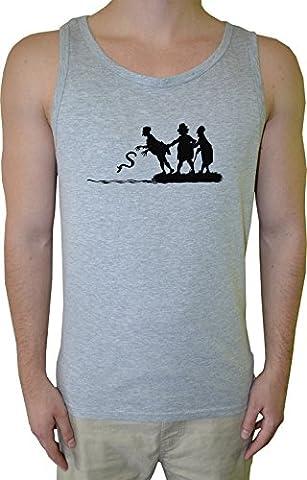 Wurf Schlange Herren Tank T-Shirt Grau Baumwolle Men's Tank T-Shirt