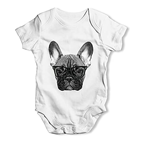 Twisted Envy Hipster French Bulldog Nerdy Baby Unisex White Baby Grow Bodysuit 0 - 3 Months