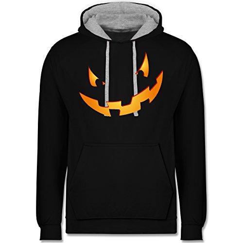 Shirtracer Halloween - Kürbisgesicht klein Pumpkin - XXL - Schwarz/Grau meliert - JH003 - Kontrast Hoodie