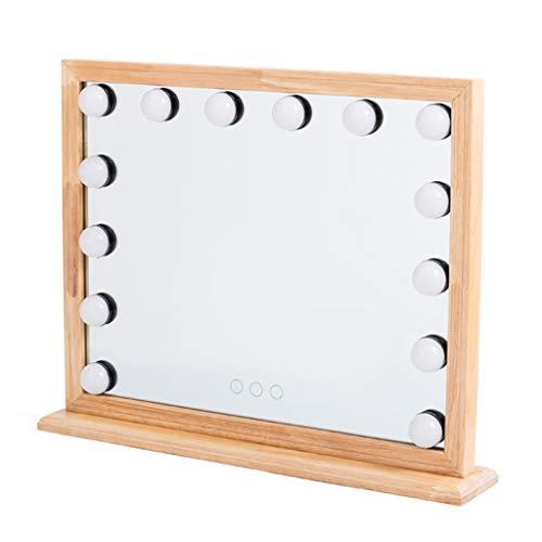 Helles Make-up mit lichtdurchflutetem Massivholz-Schreibtischspiegel mit lichtdurchflutetem LED-Schminkspiegel - Größter Bad-beleuchtung