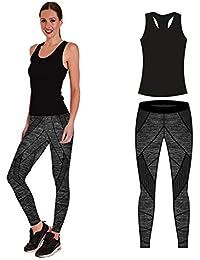 b579ed6c2c0 Bonjour Women's Sportswear Wear/Vest and Crop Top & Leggings (2 Piece Set  Top