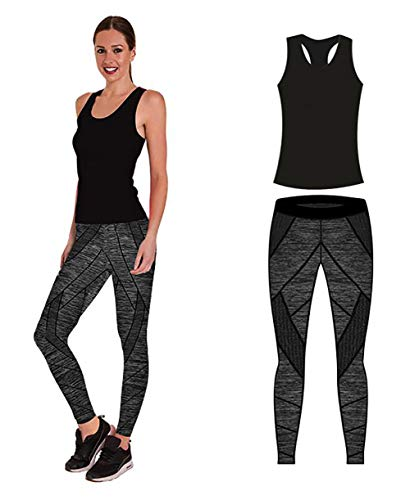 Unbekannt Bonjour Damen Sportswear Wear/Weste und Crop Top & Leggings (2 Stück), Stretch-Fit, Yoga Gym Wear Set, Black Technical Vest Top, One Size (UK 8-14) -