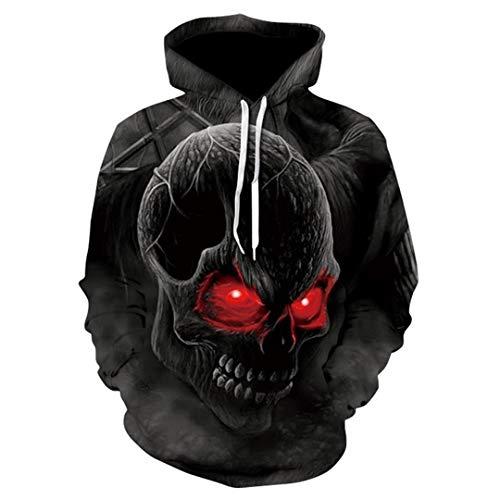 W-WORDEW 3D Hoodies MäNner Halloween SchäDel Headr Terror Streetwear Sweatshirt Herbst Harajuku XL