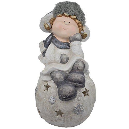 XL Weihnachtsdeko Windlicht Fensterdekoration Figur Mädchen auf Schneeball winterdeko Weihnachten 43 x 23 x 26 cm