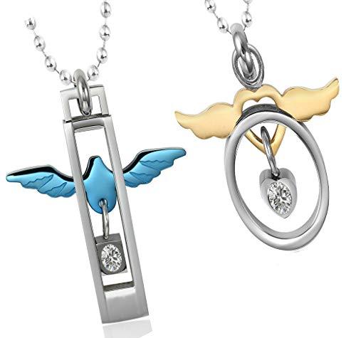 Abellale Edelstahl Halsketten, Damen Kettenanhänger, Verzierte Kreis Taube & Flügelherz