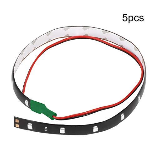 Funnyrunstore 5pcs / set 12V lumière verte couleur 30cm 15 LED moteurs de voiture camions véhicules flexibles étanches lumière bande décoration (couleur: vert)