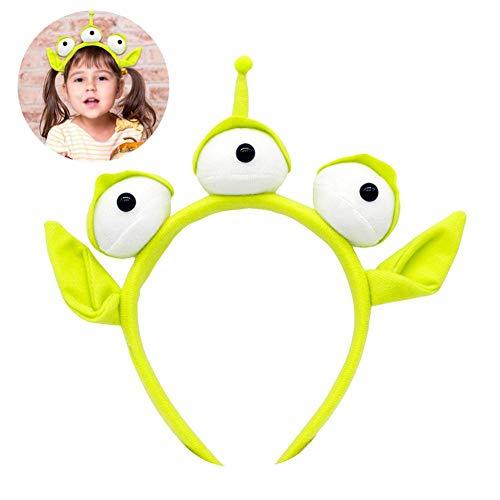 Grüne Monster Stirnband Party - Neuheit neues Spielzeug DREI große Augen mit Ohren Haarband Schweißband Headwrap Alien pelzigen Kostüm Kopfschmuck Geschenk für Erwachsene und Kinder (Drei Augen Alien Kostüm)