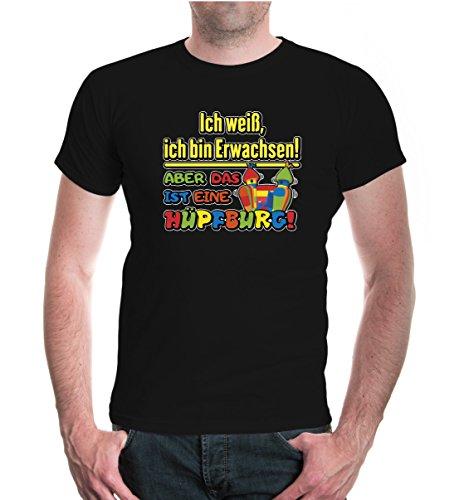 buXsbaum® T-Shirt Ich weiß ich bin Erwachsen! Aber das ist eine Hüpfburg! Black-z-direct